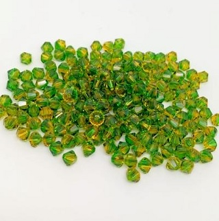 50 pack 4mm 5328 Swarovski Bicone Fern Green Topaz