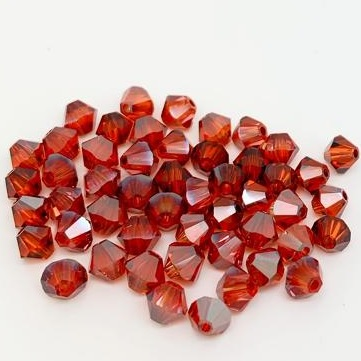 50 pack 4mm 5328 Swarovski Bicone Indian Red Satin